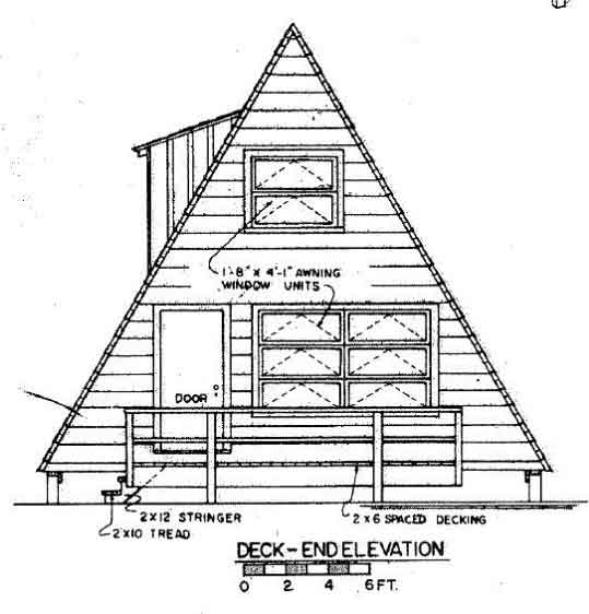 A frame house plan with deck A frame blueprints