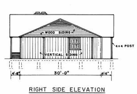 Ranch house plans 3 bedroom house with carport for Side view house plans